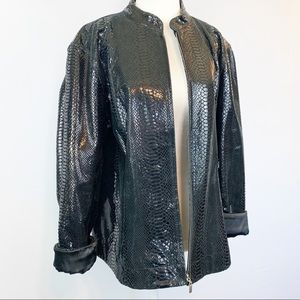 Chico's Patent Leather Embossed Snakeskin Jacket